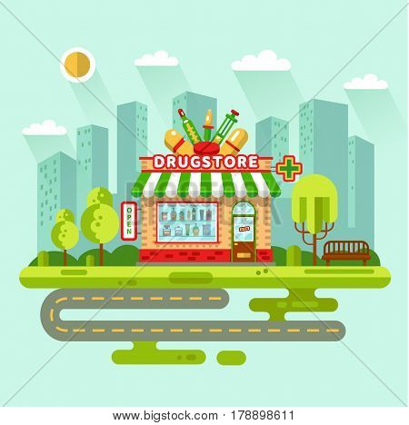 Vector flat design illustration of City landscape with drugstore building, street with road, bench. Signboard with big syringe, pipette, tablets, thermometer. Showcase with pills, potions.