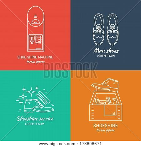Vector set of logo design templates, for shoeshine service. Man shoes, shoe care equipment, shoe shine machine. Outline icon for shoe care in trendy linear style.
