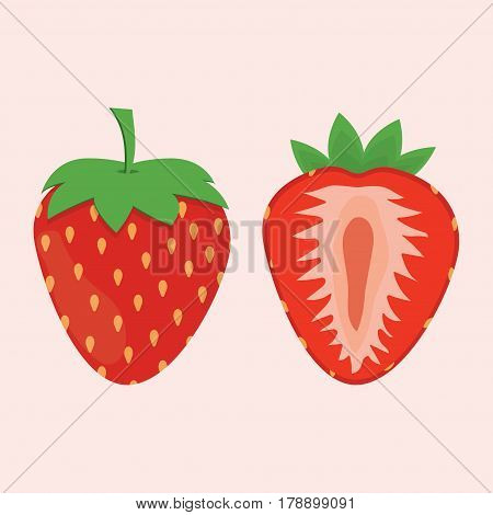 red berry strawberry and a half of strawberry isolated on white background fruit