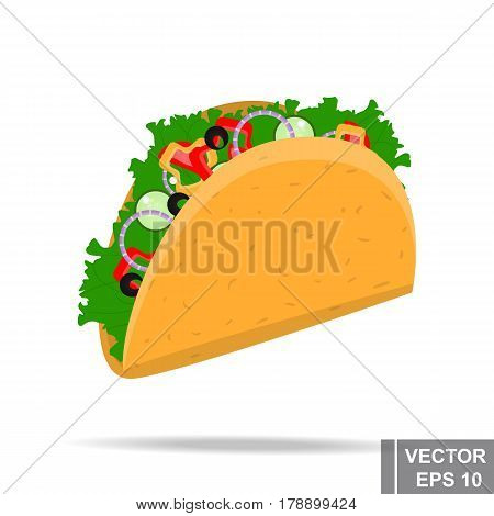 Fast Food. Delicious. Isolated On White Background. Tako. For Your Design.