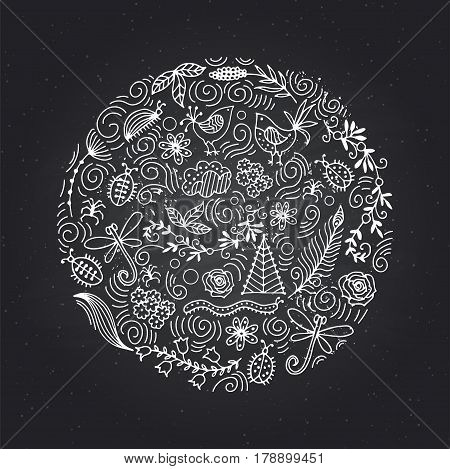 Floral pattern in the circle of ethnic motives. Banner design template with flowers beetles, clouds, dragonflies.
