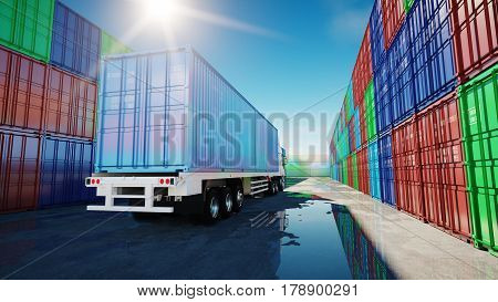 Truck in container depot, wharehouse, seaport. Cargo containers. Logistic and business concept. 3d rendering