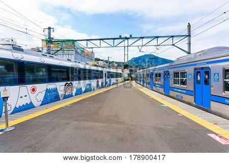 TOKYO JAPAN - 24 OCT 2016: Fujisan Express train with Fujikyu Railway Local train at Fujikyu Railway station.The railway system is one of the most important public transportation in Japan.