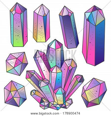 Magic fairytale crystals in sketch hand drawn style. Colorful cartoon isolated gems set. Vector illustration.