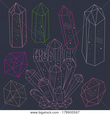 Magic fairytale crystals gems in line art hand drawn style. Icons set. Vector illustration.