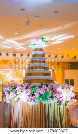 Wedding cake in wedding event  ( Filtered image processed vintage effect. )