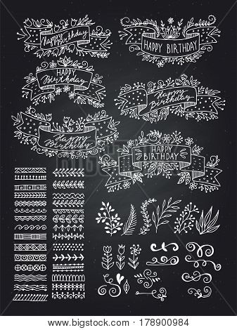 Collection of Hand Drawn Doodle Design Elements. Sketched Rustic Decorative Banners, Ribbons with Floral Swirls and Branches. Vintage Outlined Vector Illustration.