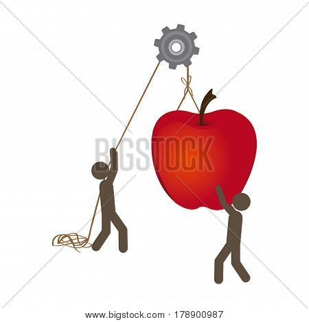 people with pulleys hanging the apple fruit, vector illustration design