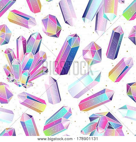 Seamless pattern with colorful fairytale crystals gems. Rainbow multicolored gem stones. Vector background.