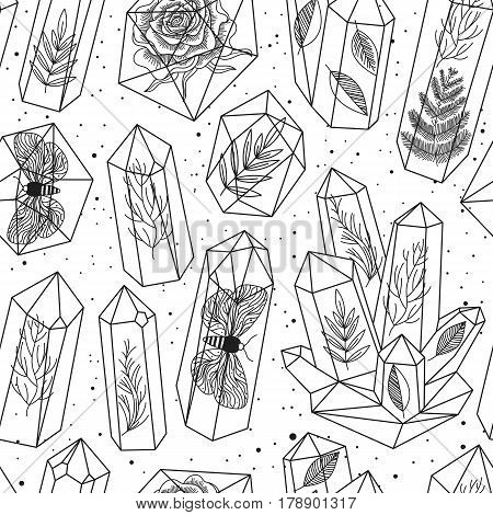 Seamless background with crystals gems or terrariums and leafs moths rose inside. Black and white line art pattern. Hand drawn style magic fairytale theme. Vector illustration.