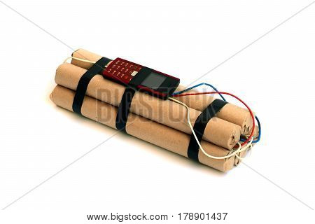 sticks of dynamite with mobile phone on a white background