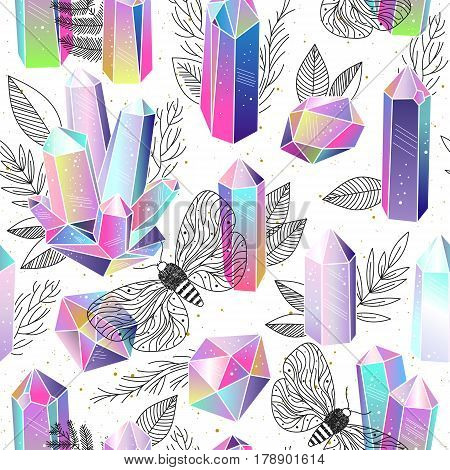 Seamless pattern. Rainbow fairytale crystals gems and hand drawn black and white leaves butterflies. Vector illustration. Magic romantic background.