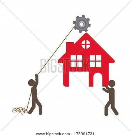 people with pulleys hanging the house, vector illustration design