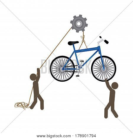 people with pulleys hanging the bicycle, vector illustration design