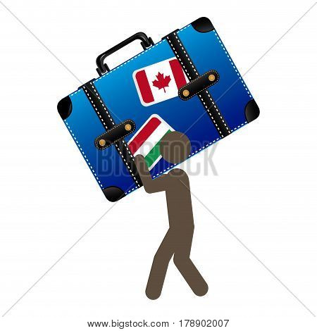 person with suitcase in his hands and shoulder, vector illustration design