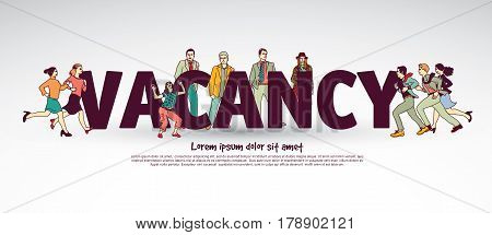 Vacancy team group business people and sign. Color vector illustration. EPS10