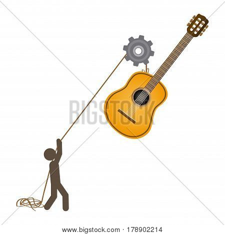 person with pulleys hanging the guitar, vector illustration design
