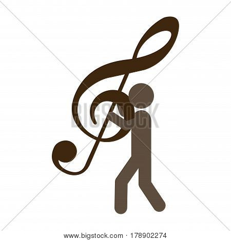 person with musical sign in his hands, vector illustration design