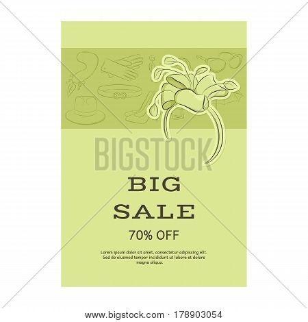 Big Sale Template Banner. Pattern Of Accessories And A Rim Of Hair With A Lush Bow Or Flower. Green