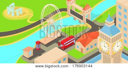 England travel horizontal banner concept. Cartoon illustration of England travel vector horizontal banner for web