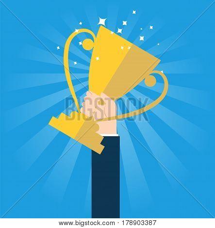 Hand holding winner's trophy award. Vector stock.