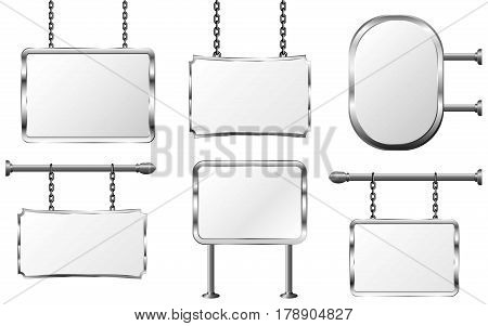 set board in a metal frame hanging on chains silver signboard isolated vector illustration