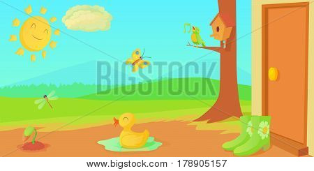 Spring horizontal banner concept things. Cartoon illustration of spring things vector horizontal banner for web