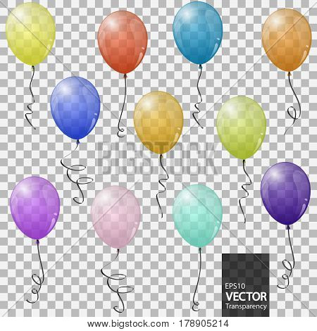Colored Flying Balloons With Transparency