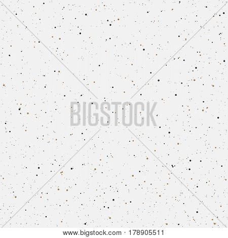 Minimalistic white seamless background with golden and black dots. Vector illustration. Seamless pattern perfect for design of fabric textile web wrapping paper.