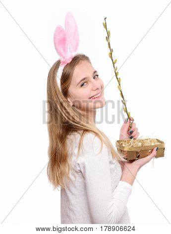 Happy Easter Girl In Bunny Ears With Golden Eggs, Willow