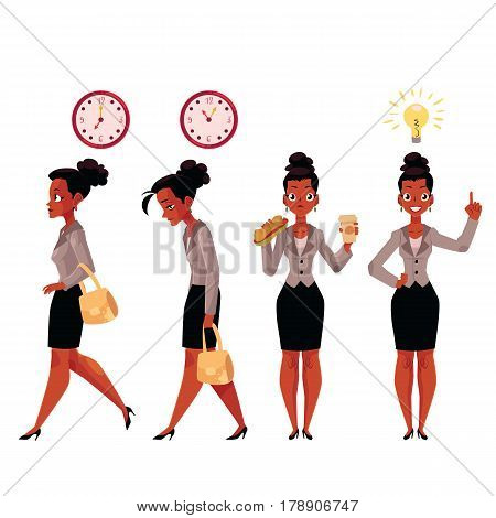 Young black, African American businesswoman in business situations, cartoon vector illustration isolated on white background. Black, African businesswoman in business situations, career concept