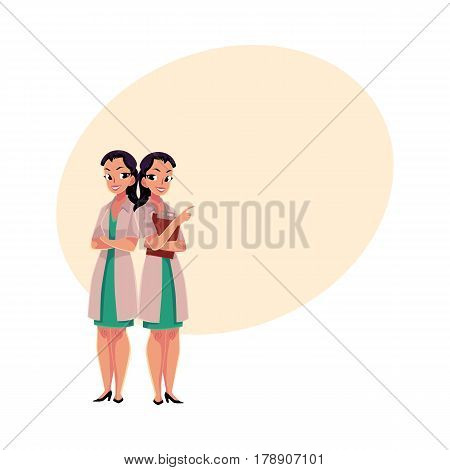 Two female, woman doctors in white medical coats, one with arms folded, another holding clipboard, cartoon vector illustration with place for text. Full length portrait of two female doctors