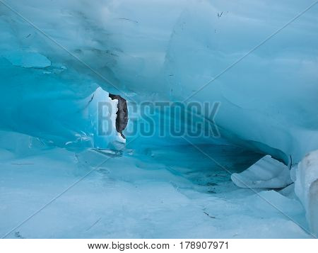 Detail Of Blue Ice Hole On A Glacier