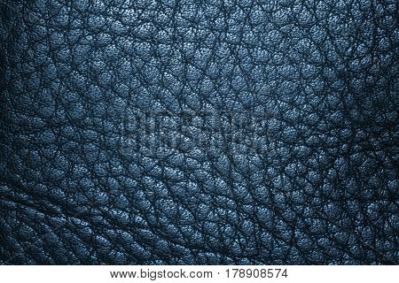 Deep blue leather texture, leather background for design with copy space for text or image.
