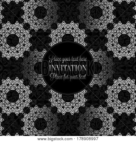 Luxury Ornament, Lace In Antique Black And Silver Colors With Vintage Frame, Victorian Style Invitat