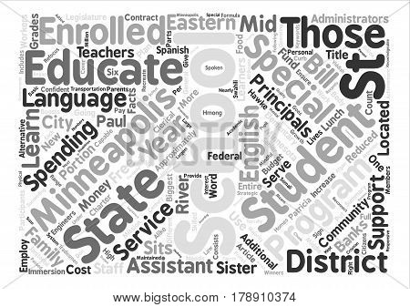 Minneapolis Schools Just The Facts text background word cloud concept
