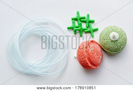 oxygen system tools for fish tank on white background