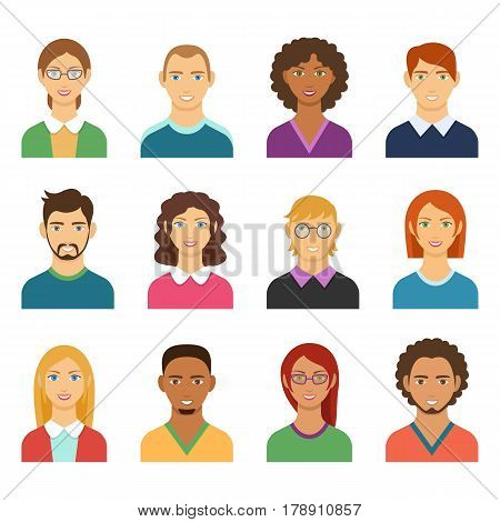Set of diverse man and woman avatars. Flat design people characters. Male and Female icons different characters and race for avatars in social networks and communication interface. Vector faces.