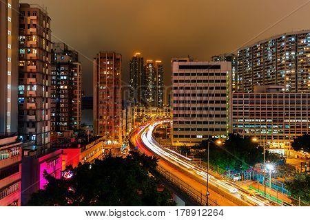Cityscape Of Kowloon, Hong Kong, At Night