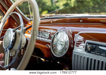 Retro car, vintage steering wheel, speedometer