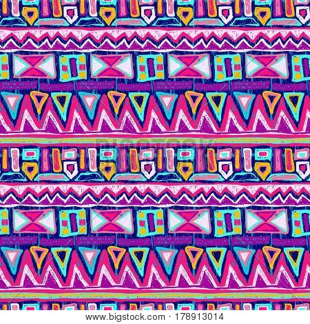Sketch pattern. Tribal doodles ornament. Hand drawn effect illustration. Seamless aztec texture for fabric design interior elements wallpapers paper backgrounds and printed products.