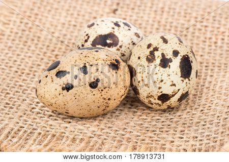 Three raw quail eggs on sackcloth close up