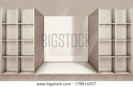 3D illustration of empty shelf on the department store