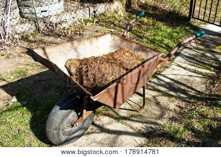 Old Wheelbarrow With Wooden Swarf, Wooden Dust