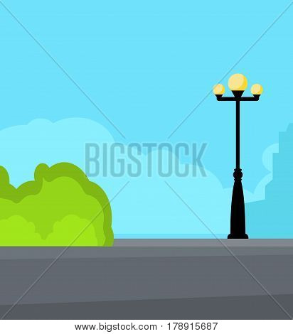 Vintage streetlight on the street near road. Square vector illustration