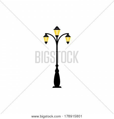 Vintage streetlight symbol. Vector retro object with three lamps isolated on white background
