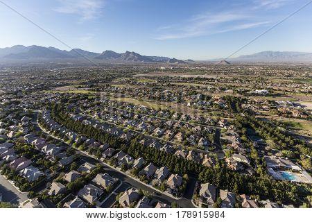 Aerial view of residential neighborhood in northwest Las Vegas, Nevada.