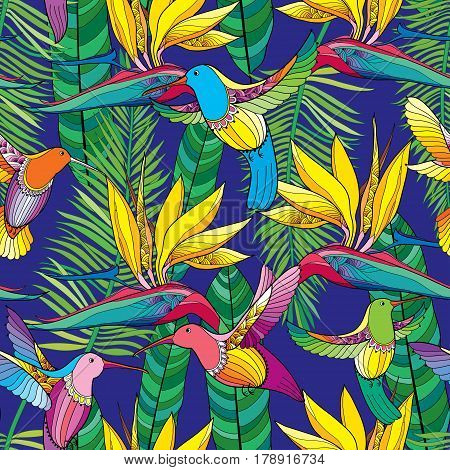 Vector seamless pattern with Strelitzia reginae and colorful flying Hummingbird or Colibri in contour style on the blue background. Exotic tropical flower, palm leaves and bird for summer design.