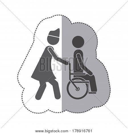 sticker monochrome silhouette nurse helping another person push a wheelchair vector illustration