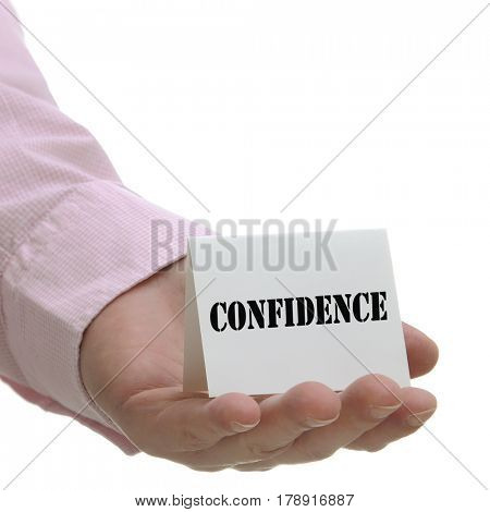 Business man holding confidence sign on hand